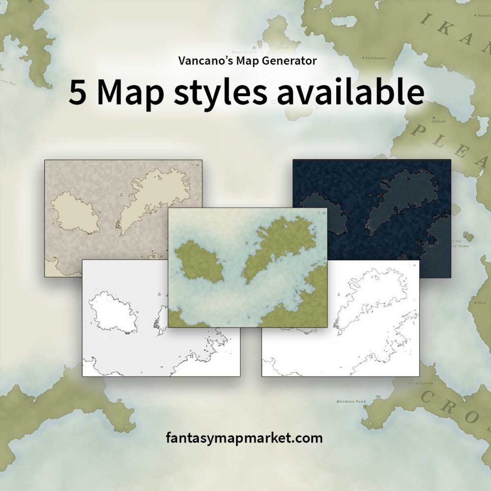 5 Map styles available for Vancano's Map Generator